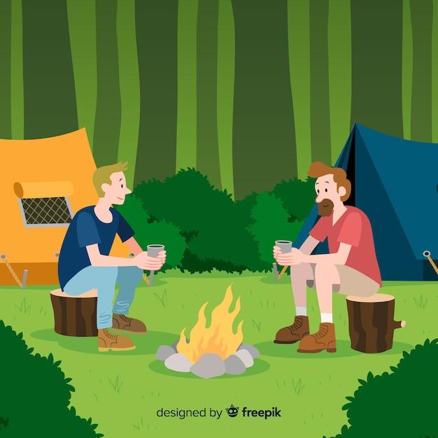 Ilustração, pessoas, acampamento, natureza Vetor grátis