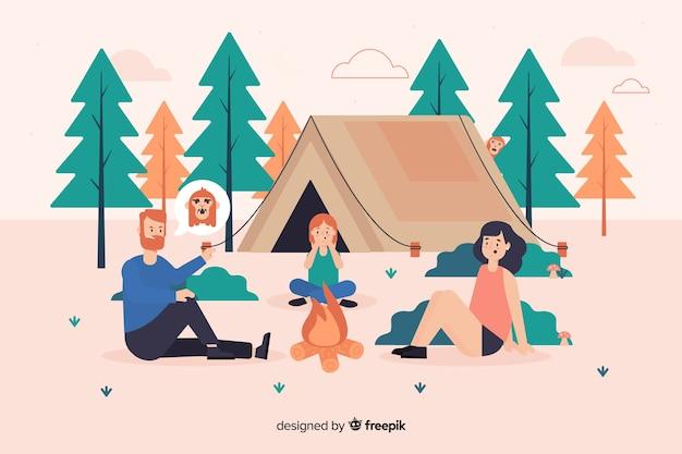 Ilustração, pessoas, acampamento, natureza Vetor Premium