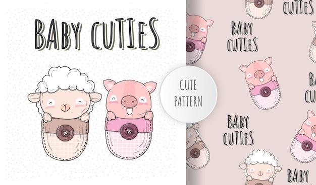 Ilustração plana bebê fofo ovelha com porco Vetor Premium