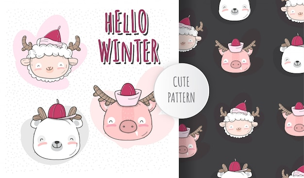 Ilustração plana bebê fofo rosto animal inverno temporada Vetor Premium