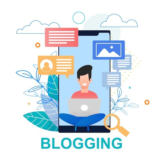 Ilustração plana blogging. tela do smartphone. Vetor Premium