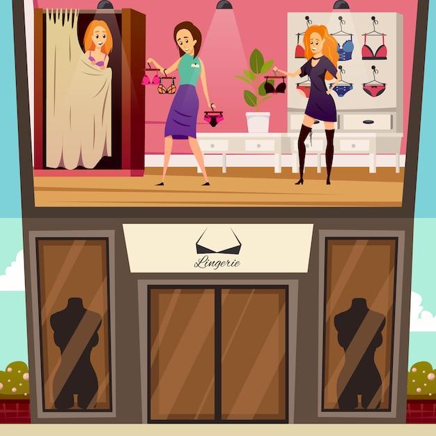 Ilustração plana boutique de roupa interior Vetor grátis