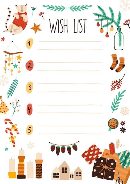 Ilustração plana da lista de desejos do natal. página de folha de caderno com decorações festivas. desenho de carta de papai noel com enfeites de natal. lista numerada com tema de férias de inverno com lugar para texto. Vetor Premium