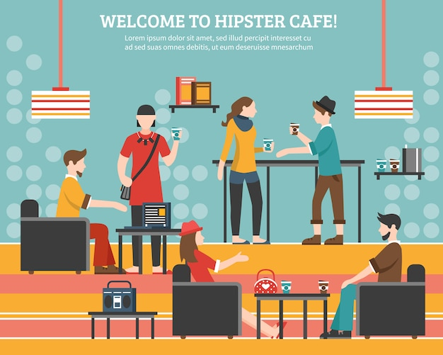 Ilustração plana de café hipster Vetor grátis