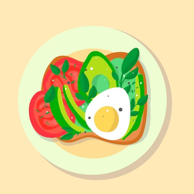Ilustração plana de comida Vetor Premium