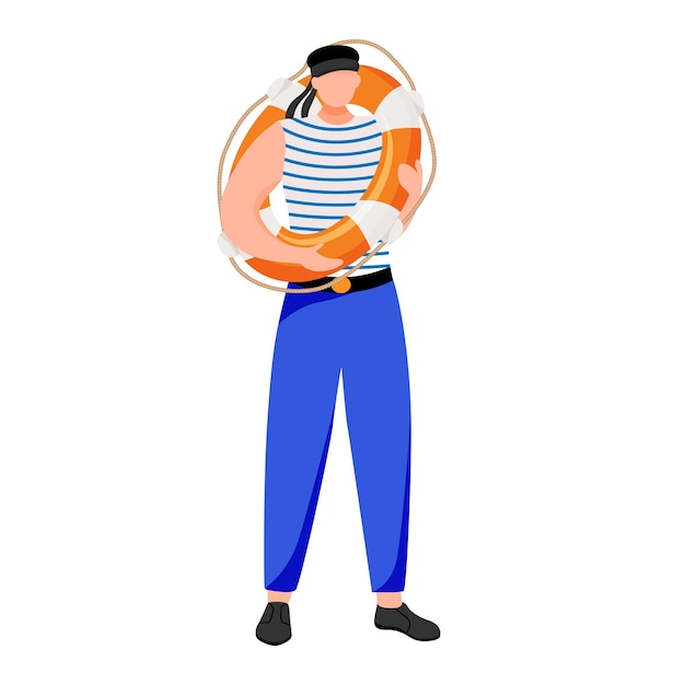 Ilustração plana de contramestre. ocupação marítima. marinheiro em uniforme de trabalho. marinheiro com personagem de desenho animado isolado de boia salva-vidas em fundo branco Vetor Premium
