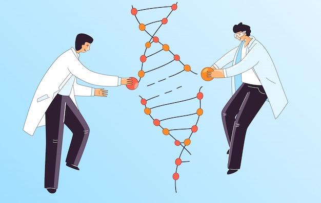 Ilustração plana de dois cientista homem, caracteres fazendo tratamento de dna genético. homem que repara a espiral do adn para a terapia de crispr, conceito. Vetor Premium