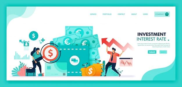 Ilustração plana de economizar dinheiro em depósito a prazo, banco e carteira, taxas de juros Vetor Premium