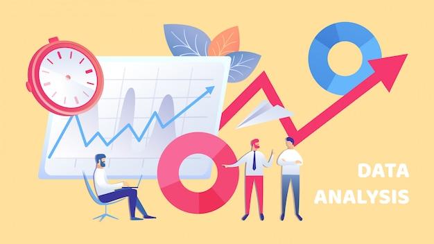 Ilustração plana de equipe de análise de dados de negócios Vetor Premium