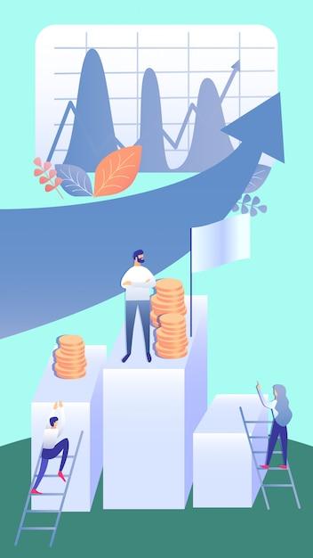 Ilustração plana de estratégia de desenvolvimento de negócios Vetor Premium