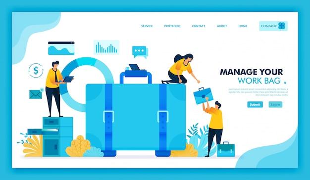 Ilustração plana de gerenciamento de maleta de trabalho, estamos contratando funcionários e procura de emprego. Vetor Premium