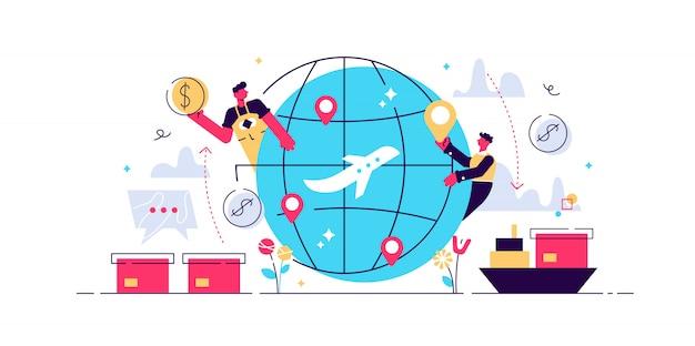 Ilustração plana de globalização, pessoas ao redor do mundo conceito de conexão. transporte de carga comercial e relações de rede de negócios internacionais. tecnologia de internet na internet Vetor Premium