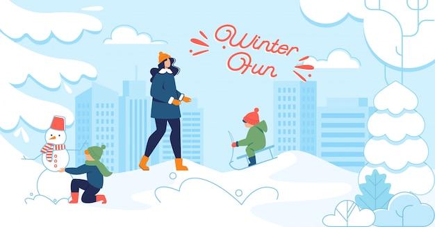 Ilustração plana de inverno divertido com pessoas felizes lá fora Vetor Premium