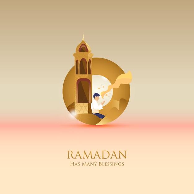 Ilustração plana de oração obter esperança para saudação post whem mês do ramadã Vetor Premium