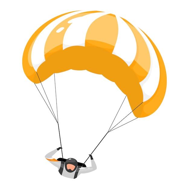Ilustração plana de pára-quedas. experiência de paraquedismo. esportes extremos. estilo de vida ativo. atividades ao ar livre. esportista, personagem de desenho animado isolado de para-quedista em fundo branco Vetor Premium