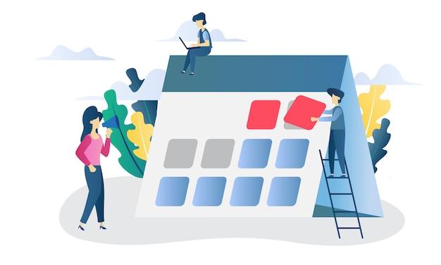 Ilustração plana de prazo de conceito de negócio Vetor Premium
