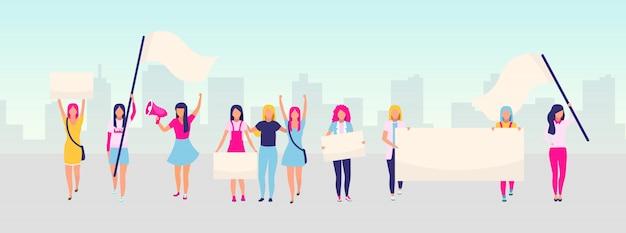 Ilustração plana de protesto de empoderamento de mulheres. demonstração feminista, conceito de movimento de poder de garota. feminismo, proteção dos direitos da mulher. ativistas do sexo feminino segurando cartazes em branco dos desenhos animados Vetor Premium