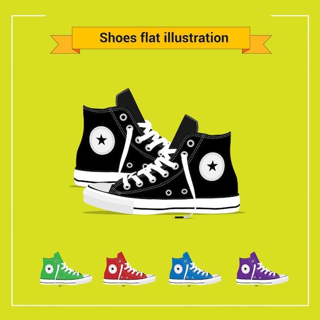 Ilustração plana de sapatos Vetor Premium