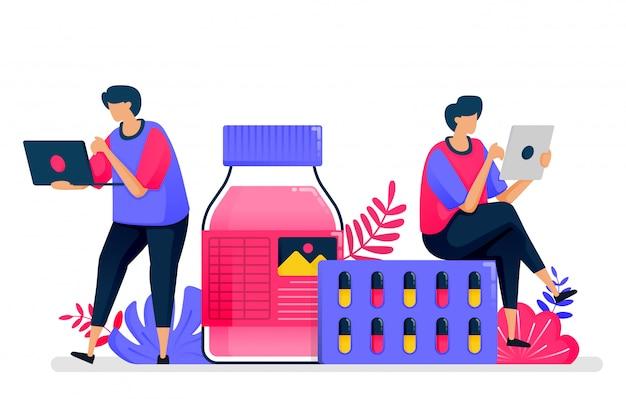 Ilustração plana de serviços de saúde. fornecedor de medicamentos líquidos, pílulas e medicamentos para farmácias. design para cuidados de saúde. Vetor Premium