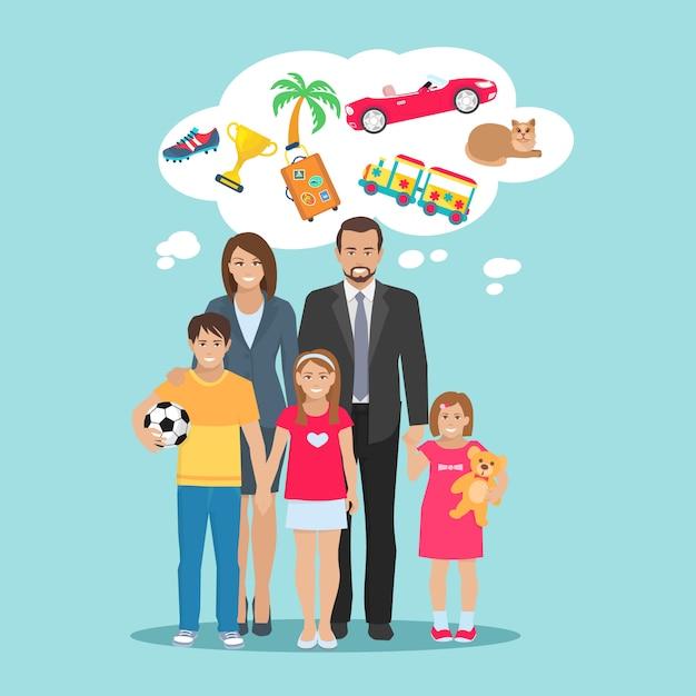 Ilustração plana de sonhos todos os membros da família pais e filhos Vetor grátis