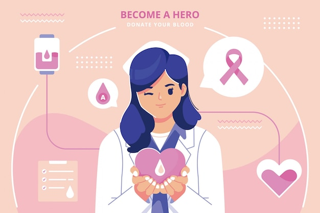 Ilustração plana design de doação de sangue Vetor Premium