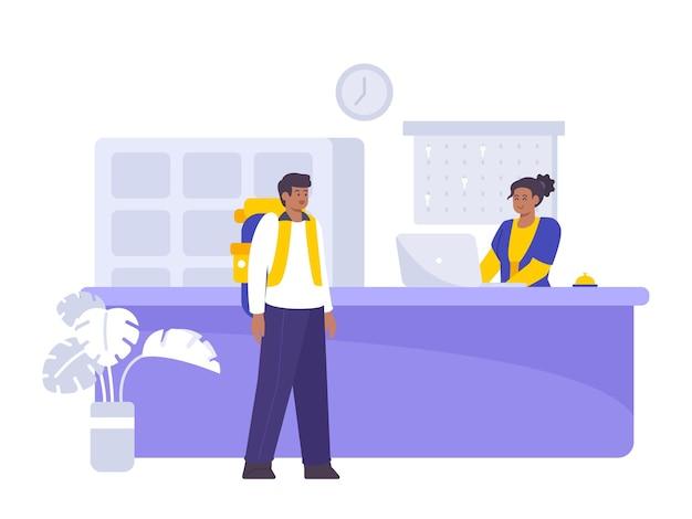 Ilustração plana do conceito de reserva e registro de hotel Vetor Premium