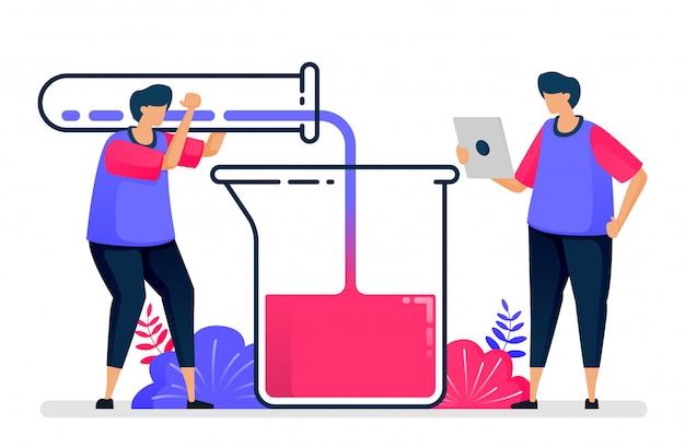 Ilustração plana do experimento com tubos de ensaio e taças. aprendizagem e estudo de química. design para cuidados de saúde. Vetor Premium