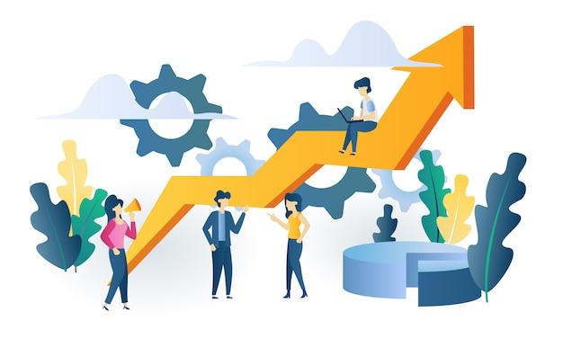 Ilustração plana do negócio conceito gráfico Vetor Premium