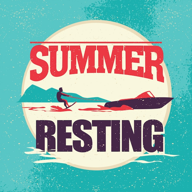 Ilustração plana do vetor de descanso de verão. Vetor Premium