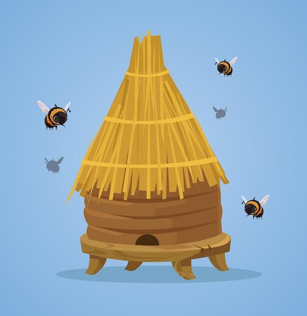 Ilustração plana dos desenhos animados da colmeia de abelhas Vetor Premium