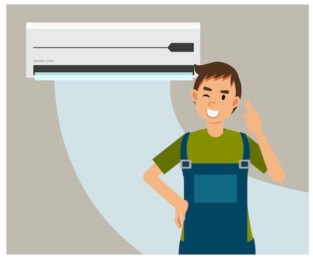 Ilustração plana dos desenhos animados de serviço e reparo de aparelhos de ar condicionado. reparador polegar para cima após terminar de consertar o ar condicionado. Vetor Premium
