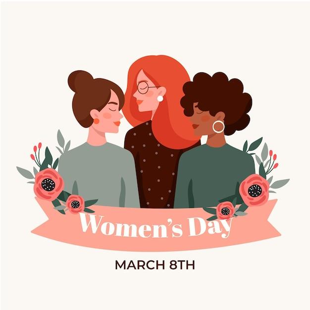 Ilustração plana internacional do dia da mulher Vetor grátis