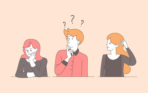 Ilustração plana linear de jovens confusos. cara, garotas bastante incertas, resolvendo o problema, procurando respostas isoladas caracteres de contorno. mulheres e homem pensativos e confusos com expressão pensativa Vetor Premium