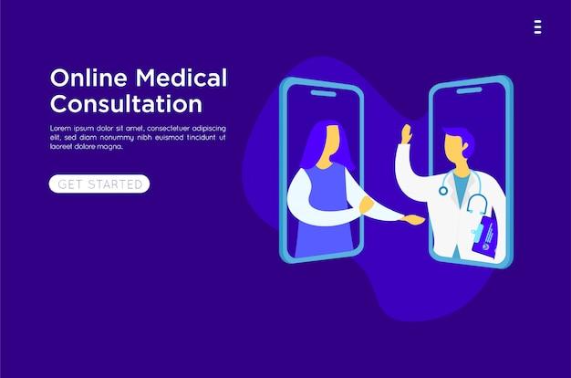 Ilustração plana on-line médico móvel Vetor Premium
