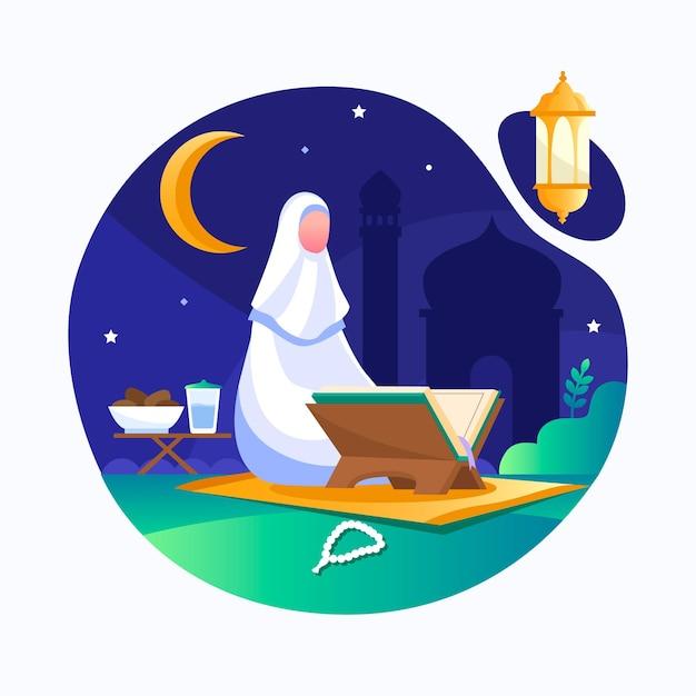 Ilustração plana ramadan Vetor Premium