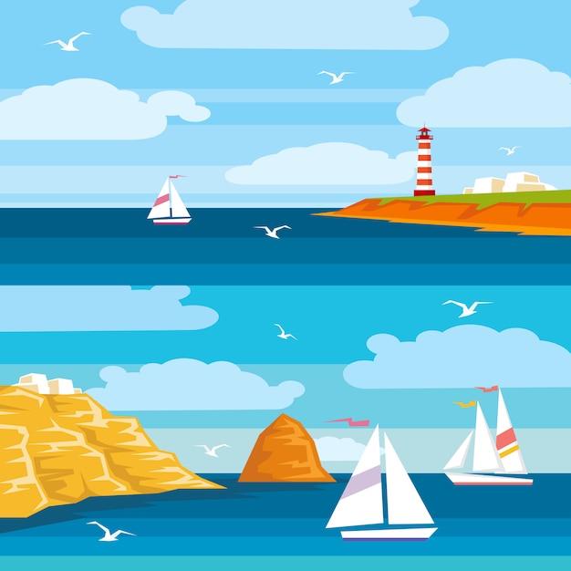 Ilustração plana sobre o tema marinho. navios navegando no mar, um farol fica em um penhasco. ilustração plana brilhante para cartões, cartazes de viagens, publicidade de viagens Vetor Premium