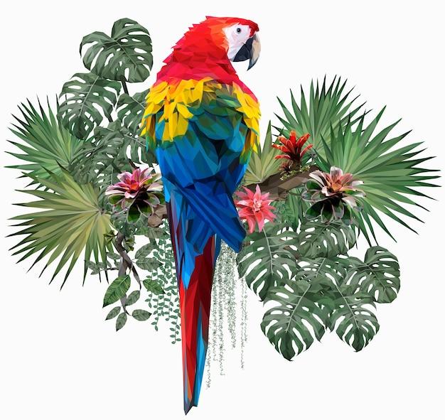 Ilustração poligonal pássaro arara-vermelha com folhas de amazonas. Vetor Premium