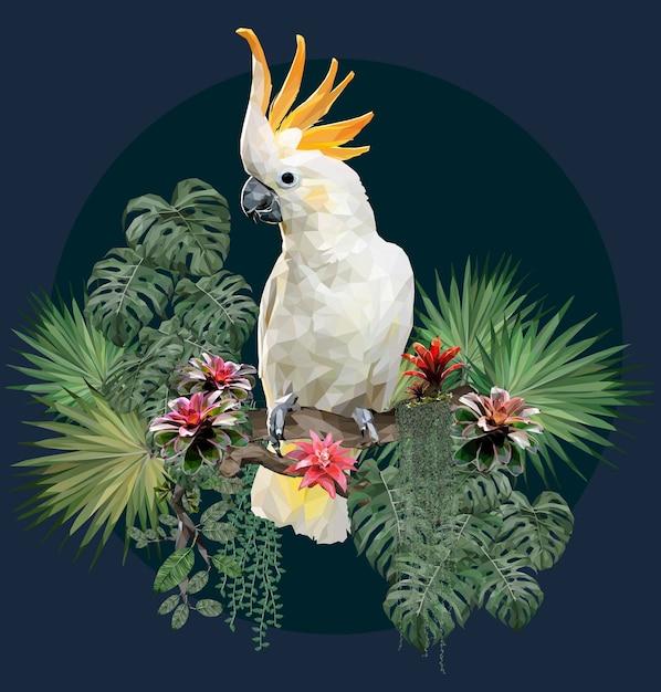 Ilustração poligonal pássaro cacatua e plantas da amazônia. Vetor Premium
