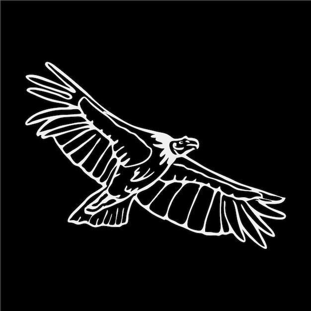 Ilustração preto e branco da águia Vetor grátis