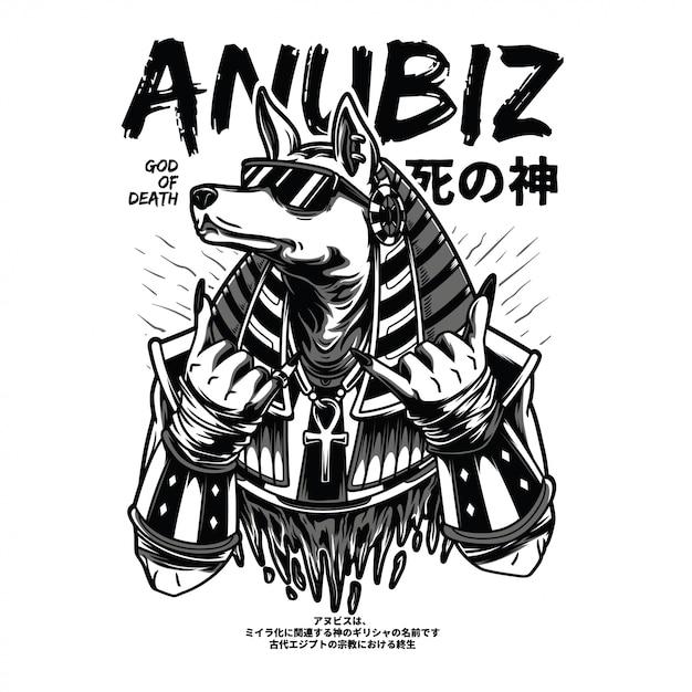 Ilustração preto e branco de anubiz Vetor Premium