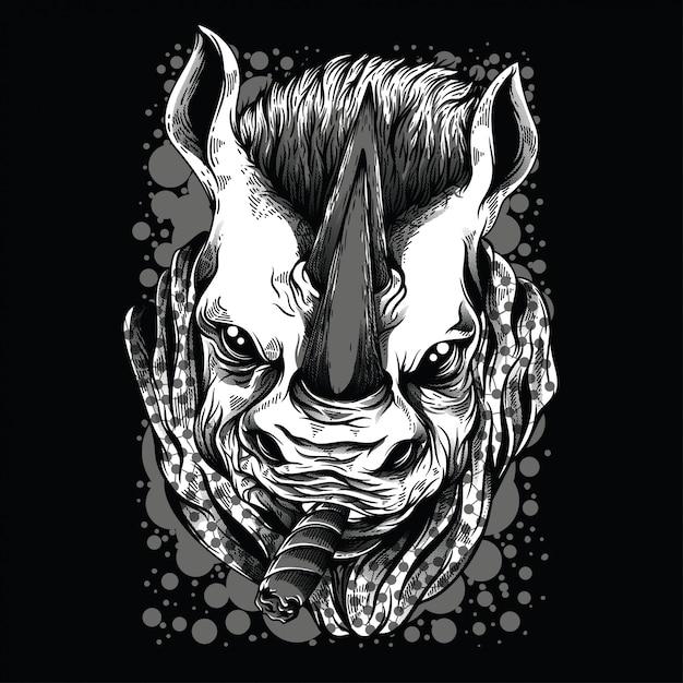 Ilustração preto e branco do rinoceronte da máfia Vetor Premium