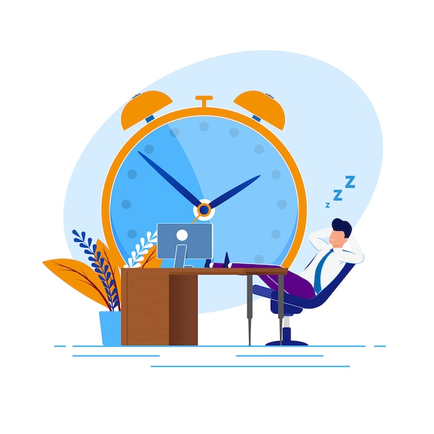 Ilustração procrastination time at work cartoon. Vetor Premium