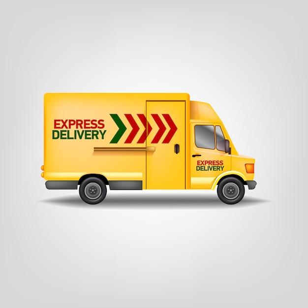 Ilustração realista amarelo carro de entrega expressa. modelo de caminhão de serviço de logística Vetor Premium