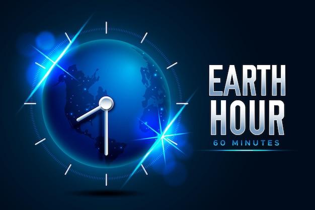 Ilustração realista da hora da terra com planeta e relógio Vetor grátis