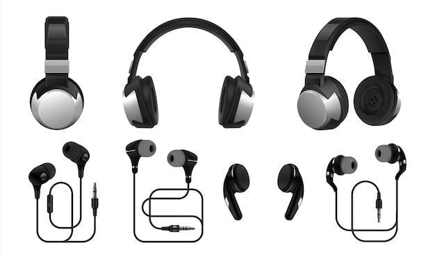 Ilustração realista de fones de ouvido Vetor Premium