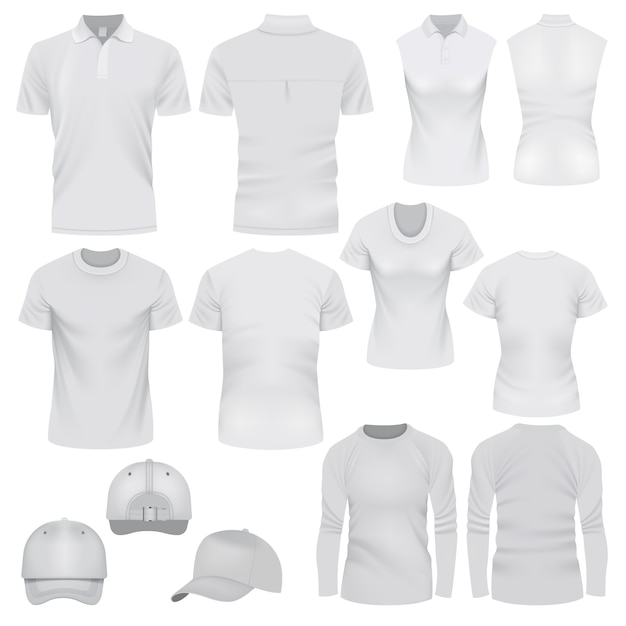 Ilustração realista de maquetes de boné de t-shirt para web Vetor Premium