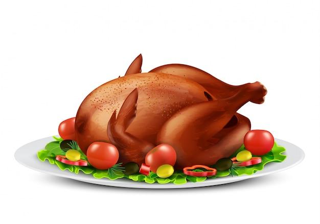 Ilustração realista de peru assado ou frango grelhado com especiarias e legumes Vetor grátis