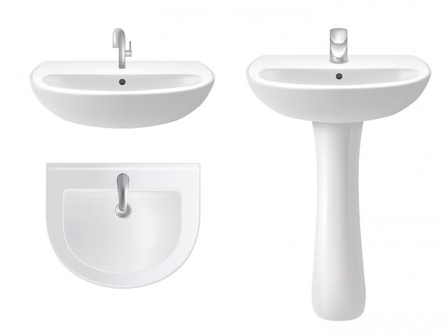 Ilustração realista de vetor isolado lavatório Vetor Premium