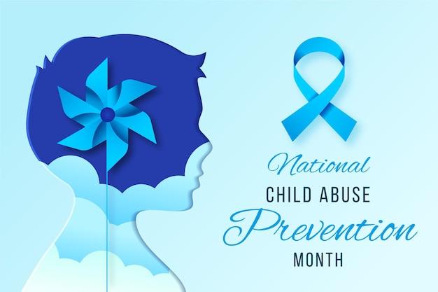 Ilustração realista do mês nacional de prevenção do abuso infantil Vetor grátis