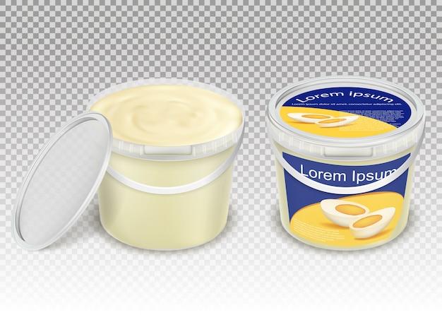 Ilustração realista do vetor de baldes transparentes de plástico com produtos alimentares Vetor grátis